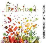healthy eating background  ... | Shutterstock . vector #342750281