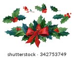 watercolor christmas set.  red... | Shutterstock . vector #342753749