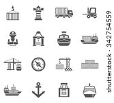 seaport black icons set  with... | Shutterstock .eps vector #342754559