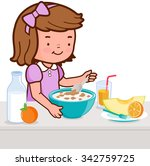 a girl is having her breakfast... | Shutterstock .eps vector #342759725