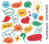 hand drawn speech bubbles and... | Shutterstock .eps vector #342761405