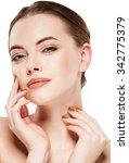 beautiful woman face close up... | Shutterstock . vector #342775379