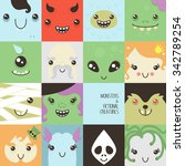 set of cute colorful faces of... | Shutterstock .eps vector #342789254