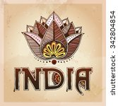 india and lotos card. indian... | Shutterstock .eps vector #342804854