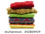 stack of various sweaters.... | Shutterstock . vector #342804929