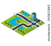 isometric city map. crossroads... | Shutterstock .eps vector #342811865