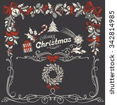 christmas ornamental frame and...   Shutterstock .eps vector #342814985