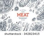 meat market  frame. linear... | Shutterstock .eps vector #342823415
