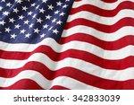 closeup of ruffled american flag | Shutterstock . vector #342833039