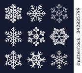 Snowflakes Set Isolated On Dar...