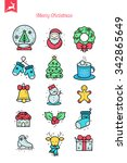 merry christmas   thin line... | Shutterstock .eps vector #342865649