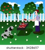 a man grilling stakes on... | Shutterstock .eps vector #3428657