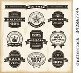 vintage sale labels set.... | Shutterstock .eps vector #342867749