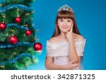 the girl in a dress with a... | Shutterstock . vector #342871325