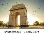 Birds flying over India Gate, New Delhi