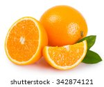 fresh orange isolated on white... | Shutterstock . vector #342874121
