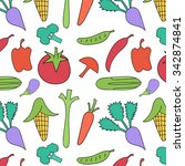 vegetables seamless pattern on... | Shutterstock .eps vector #342874841