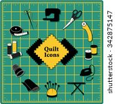 quilt icons for diy sewing ... | Shutterstock .eps vector #342875147