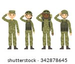 us army soldiers  men and woman ... | Shutterstock .eps vector #342878645