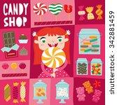 little girl with a big lollipop.... | Shutterstock .eps vector #342881459