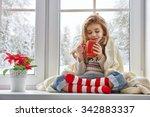 little girl sitting by the... | Shutterstock . vector #342883337