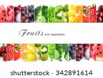 Small photo of Fresh color fruits and vegetables. Healthy food concept
