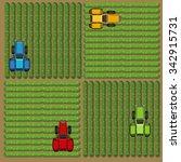 top view of tractors working on ... | Shutterstock .eps vector #342915731