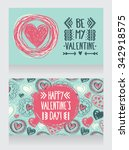 cute cards with doodle heart... | Shutterstock .eps vector #342918575