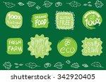 retro style set of 100  bio... | Shutterstock .eps vector #342920405