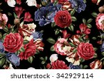 seamless floral pattern with... | Shutterstock . vector #342929114