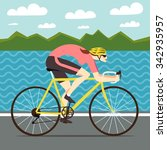 racing woman cyclist riding on... | Shutterstock .eps vector #342935957