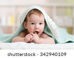 baby kid boy sucks on his... | Shutterstock . vector #342940109