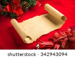 christmas vintage scroll on red ... | Shutterstock . vector #342943094