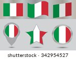 italy flag icon set.italian... | Shutterstock .eps vector #342954527