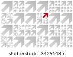 pattern of grey arrows pointing ... | Shutterstock . vector #34295485