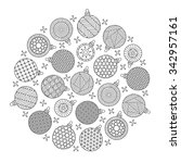 round pattern for coloring book.... | Shutterstock .eps vector #342957161