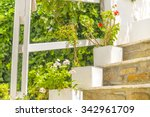 Flowerpots On Stairs In Summer...