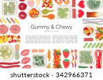 various jelly candies on white... | Shutterstock . vector #342966371