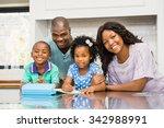 parents helping children doing... | Shutterstock . vector #342988991