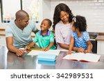 parents helping children doing... | Shutterstock . vector #342989531