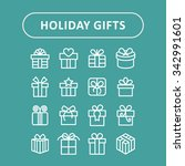 gift icons. present icons.... | Shutterstock .eps vector #342991601