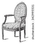 armchair upholstered in chintz  ... | Shutterstock .eps vector #342995531