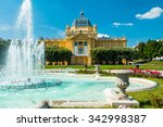 Art pavilion and fountain in Zagreb capital of Croatia