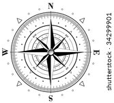 black compass rose isolated on...   Shutterstock .eps vector #34299901