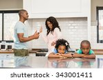 parents arguing in front of... | Shutterstock . vector #343001411