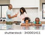 parents arguing in front of... | Shutterstock . vector #343001411