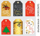 christmas gift tags and labels. ... | Shutterstock .eps vector #343015691