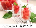 cold watermelon pieces in... | Shutterstock . vector #343025195