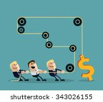 happy businessman pulling rope... | Shutterstock .eps vector #343026155