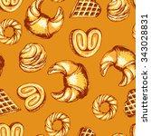 seamless bakery pattern... | Shutterstock .eps vector #343028831